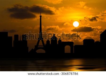 Dramatic Paris skyline behind clouds above the sea, Scenic orange sunset sky background - stock photo