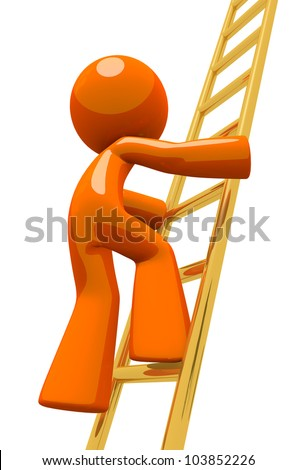 Dramatic pose of an orange man climbing the corporate ladder. The ladder is made out of gold to represent golden opportunities or valuable positions, and the rise to success.