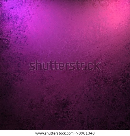 dramatic purple pink and black color background with old vintage grunge texture and bright spotlight on frame of border for copy space for announcement or invitation design layout