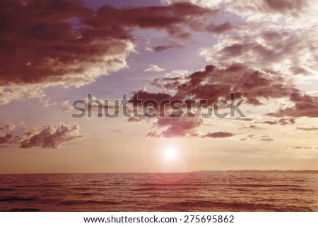 Dramatic red sky - stock photo