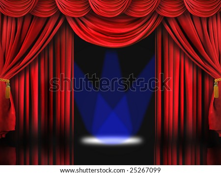 Dramatic Red Theater Stage With Blue Spot Lights - stock photo