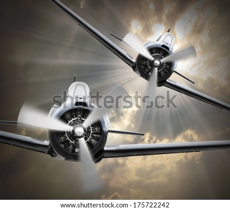 Dramatic scene on the sky. Vintage fighter planes inbound from sun. Retro technology background.  - stock photo