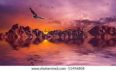 Dramatic scene with dismal rocks - stock photo