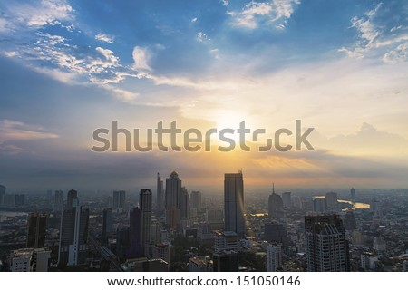 Dramatic scenery sunset of the city center at Bangkok, Thailand, Asia - stock photo