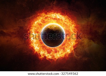 Dramatic scientific background - burning and exploding planet Earth in space, end of world. Elements of this image furnished by NASA nasa.gov - stock photo
