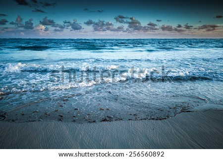 Dramatic sea landscape, Atlantic ocean coast. Dominican republic, Punta Cana. Toned photo with filter effect - stock photo