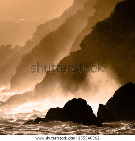 Dramatic seascape in Mediterranean sea in Chinque Terre national park in Italy.