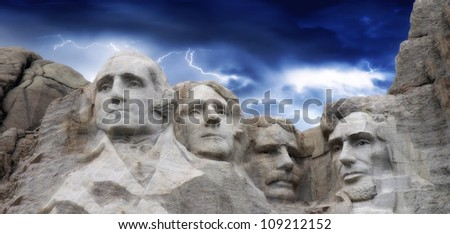 Dramatic Sky above Mount Rushmore National Memorial
