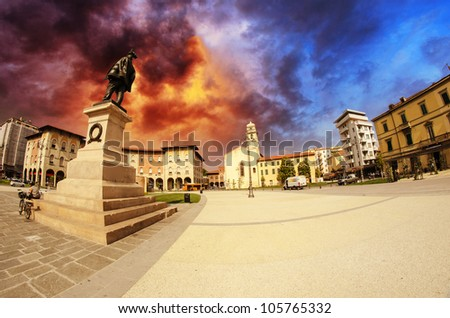 Dramatic Sky above Piazza Vittorio Emanuele in Pisa, Italy, Fisheye view - stock photo