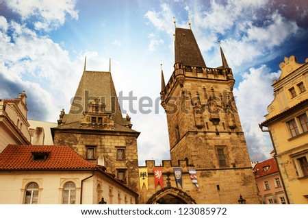 Dramatic sky above Prague and its landmarks, Czech Republic - stock photo