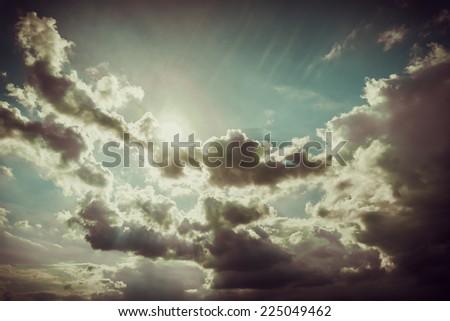 Dramatic sky.  Dark Storm Clouds Before Rain. - stock photo