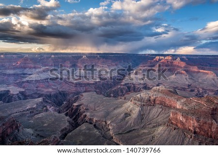 Dramatic sky in the Grand Canyon - stock photo