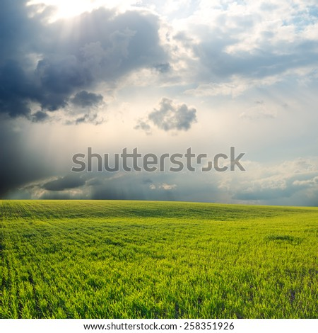 dramatic sky over green field