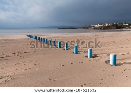 Dramatic sky over sandy beach of Downings, Donegal county, Ireland - stock photo