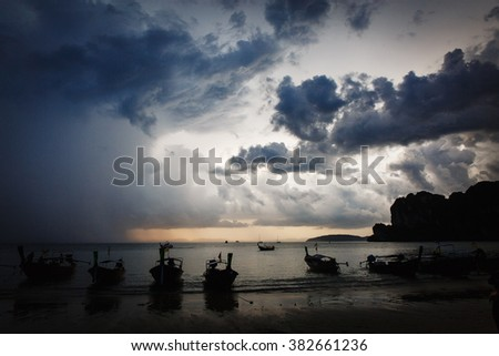 Dramatic sky over the rocky beach