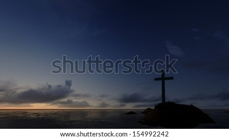 Dramatic sky silhouettes wooden cross with shafts of sunlight breaking through the clouds