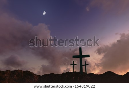 Dramatic sky silhouettes wooden crosses with shafts of sunlight breaking through the clouds - stock photo