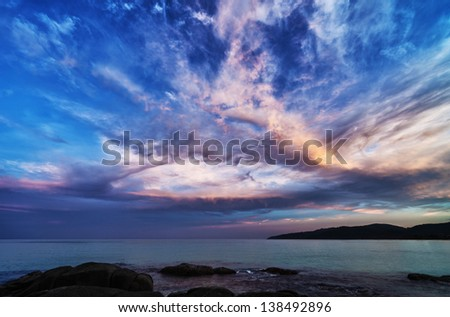 Dramatic sky with clouds panorama. Dark sunrise landscape - stock photo