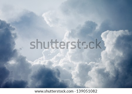 Dramatic sky with stormy clouds - stock photo
