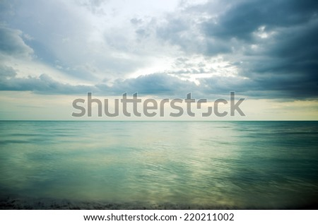 Dramatic sky with stormy clouds Nature composition. - stock photo