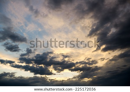 Dramatic sky with stormy clouds. Nature composition. - stock photo