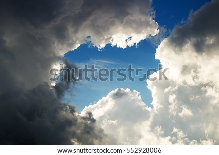 Dramatic sky with stormy clouds. Nature composition