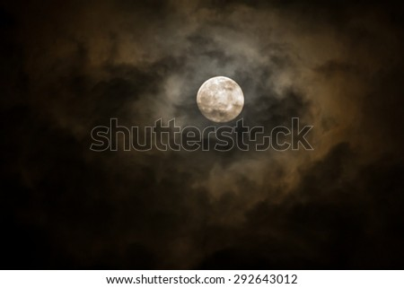 Dramatic soft Moon on Cloudy day.