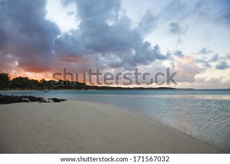 Dramatic Sunrise on Mauritius beach, Belle Mare - stock photo