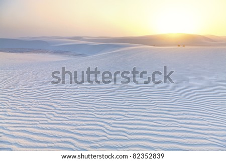 Dramatic sunset at White Sands National Monument - stock photo