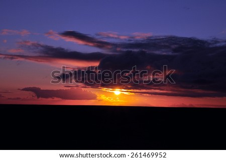 Dramatic sunset in Australia - stock photo