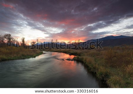 Dramatic sunset in Heber Valley, Utah, USA. - stock photo