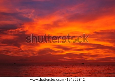 Dramatic sunset on Philippines - after the storm. - stock photo