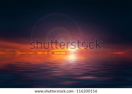 Dramatic sunset over sea with infernal clouds and dark sky