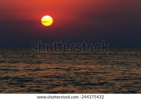 Dramatic sunset over the Black Sea - stock photo