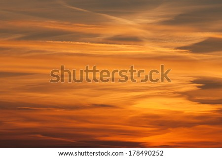 Dramatic sunset over the sea - stock photo