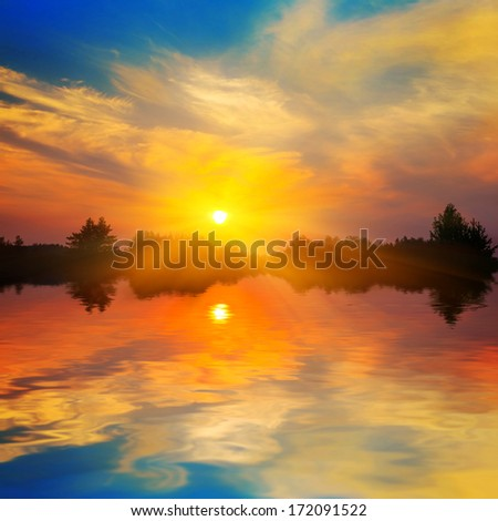 dramatic sunset reflected in a water
