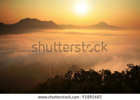 Dramatic sunset scenic on the peak in Tak province, Thailand