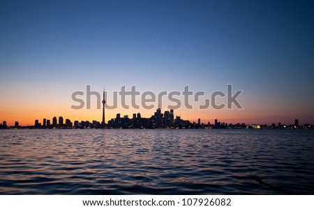 Dramatic sunset, Toronto, Canada - stock photo