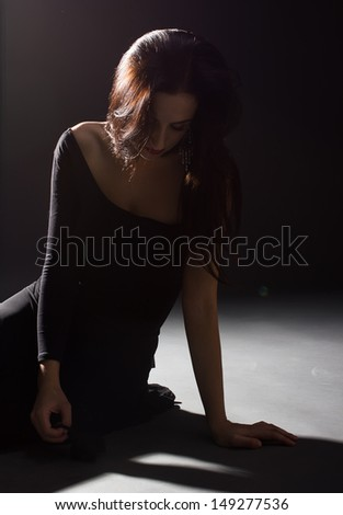 Dramatic theater.Stage performance - stock photo