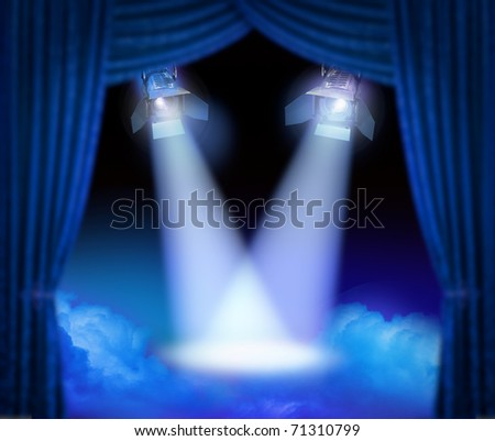 Dramatic theatre stage with spotlights beams and color smoke - stock photo