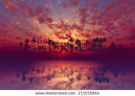 dramatic tropical sunset with purple clouds over coconut island