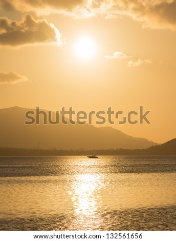 Dramatic View at Dusk  over Mountain and Sea on Samui island,Thailand - stock photo