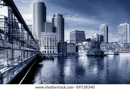 Dramatic view of Boston downtown in Massachusetts, USA.