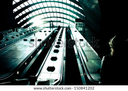 dramatic view of underground stairs - stock photo