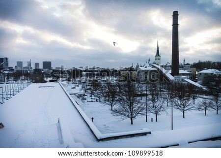 Dramatic view on the Tallinn at winter