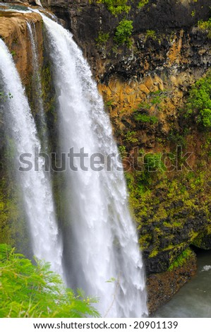 Dramatic Wailua Falls on the island of Kauai, Hawaii