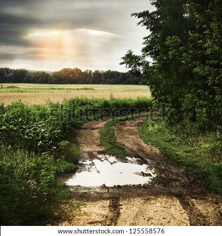 Dramatic wet countryside road with dark cloudy sky on the background - stock photo