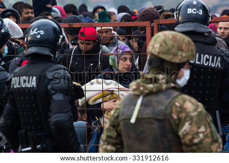 Dramatical picture from slovenian refugees. Many children suffer from end exhaustion because of the  long walking. Into Slovenia daily cca 10000 refugees arrive. 25.10.2015 Slovenia Breznice;