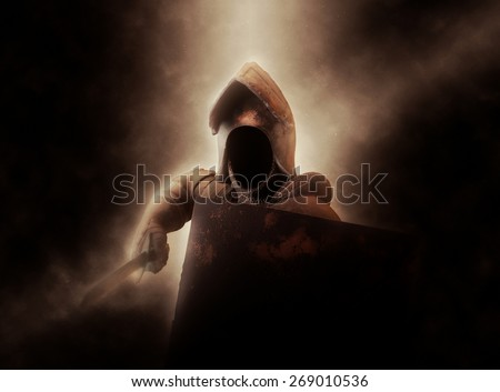 Dramatically Illuminated Faceless Knight in Suit of Armor with Shield and Sword - stock photo