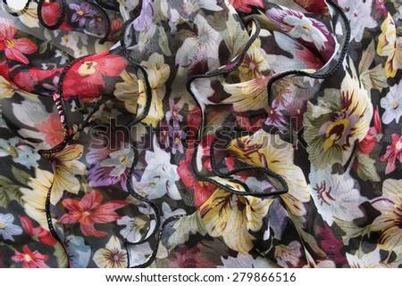 Draped colorful chiffon cloth as a background - stock photo